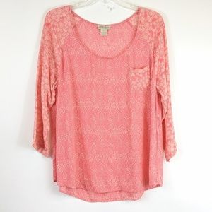Lucky Brand floral print 3/4 sleeve blouse